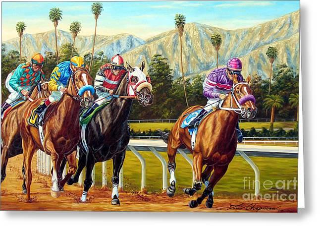 On The Turf At Santa Anita Greeting Card by Tom Chapman