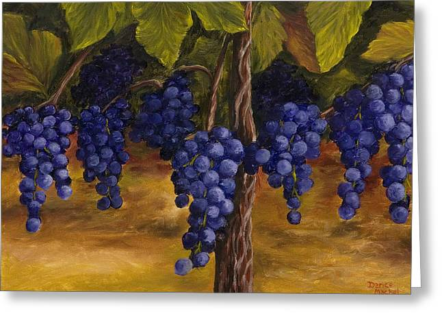 Blue Grapes Greeting Cards - On The Vine Greeting Card by Darice Machel McGuire