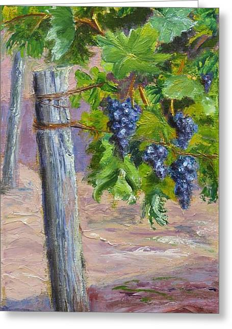 Viticulture Paintings Greeting Cards - On the Vine Greeting Card by Inka Zamoyska