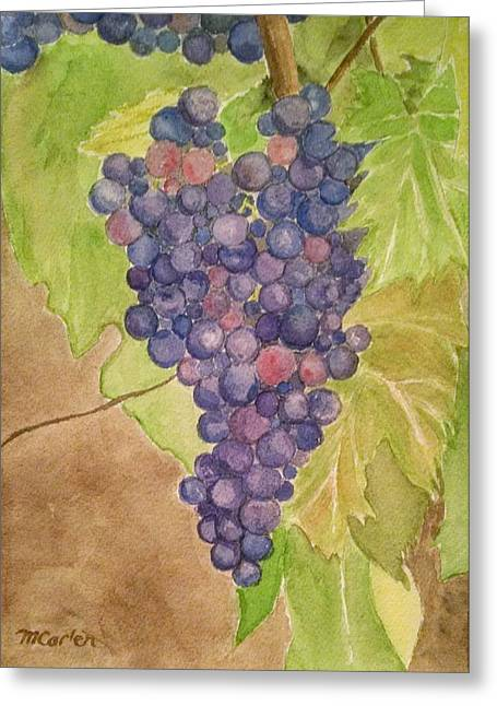 Pinot Noir Greeting Cards - On the Vine Greeting Card by M Carlen