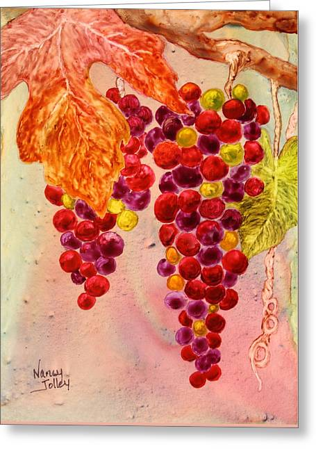 Grapevines Greeting Cards - On the Vine Greeting Card by Nancy Jolley