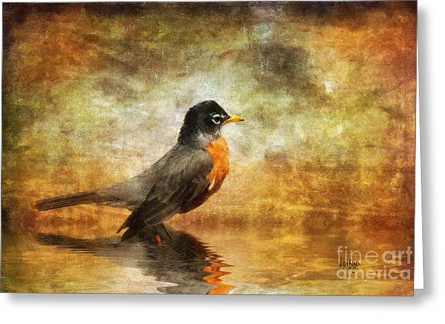 Pond In Park Greeting Cards - On The Watch For Worms Greeting Card by Lois Bryan