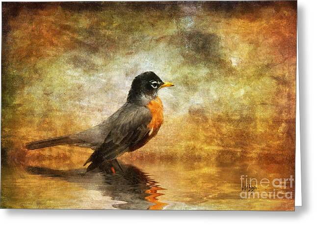 Puddle Greeting Cards - On The Watch For Worms Greeting Card by Lois Bryan