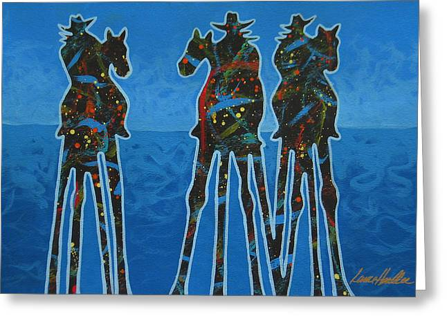 Cowgirl Greeting Cards - On The Waters Edge Greeting Card by Lance Headlee