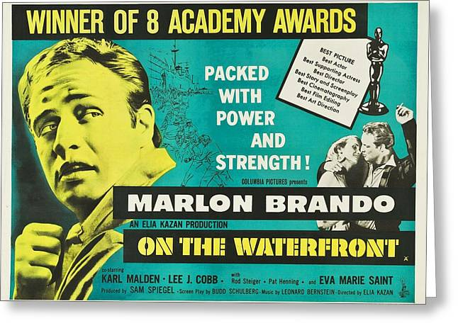 Marlon Brando Poster Greeting Cards - On The Waterfront - 1954 Greeting Card by Nomad Art And  Design