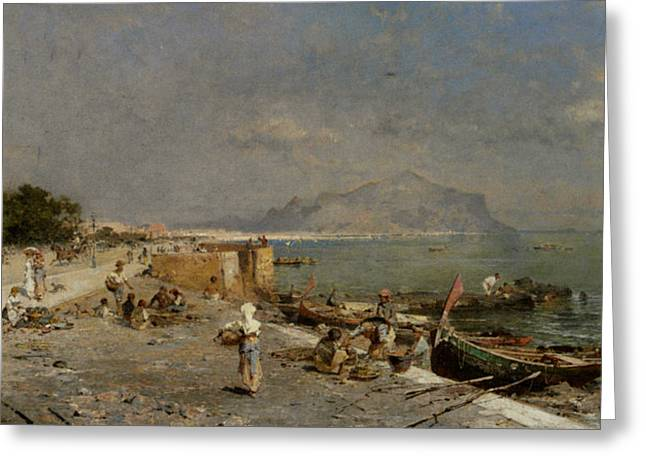 Boats On Water Greeting Cards - On The Waterfront at Palermo Greeting Card by Franz Richard Unterberger