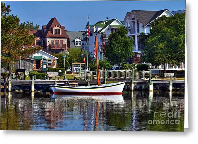Small Towns Greeting Cards - On The Waterfront Greeting Card by Mel Steinhauer
