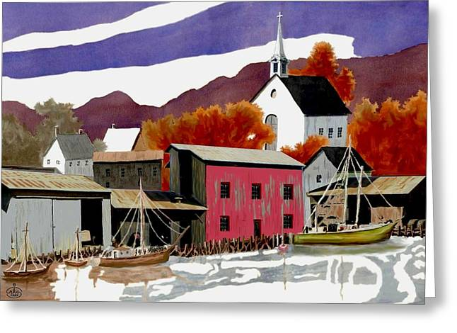 Seascape With A Boat Greeting Cards - On the Waterfront Greeting Card by Ronald Chambers