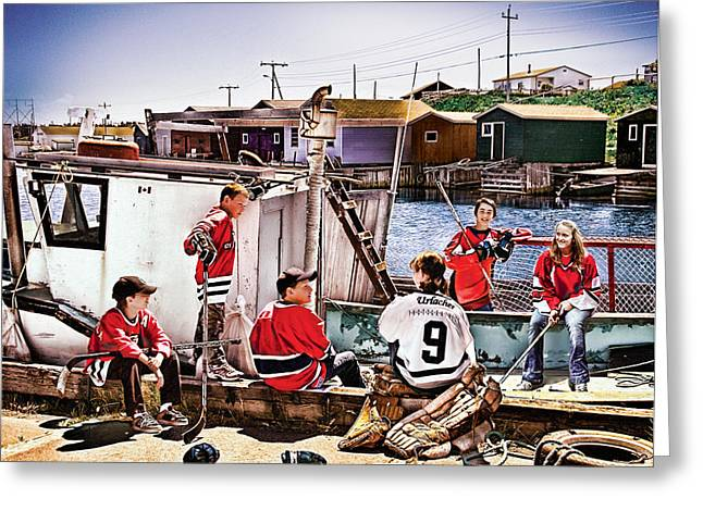 Minor Hockey Greeting Cards - On The Way Home Greeting Card by Elizabeth Urlacher
