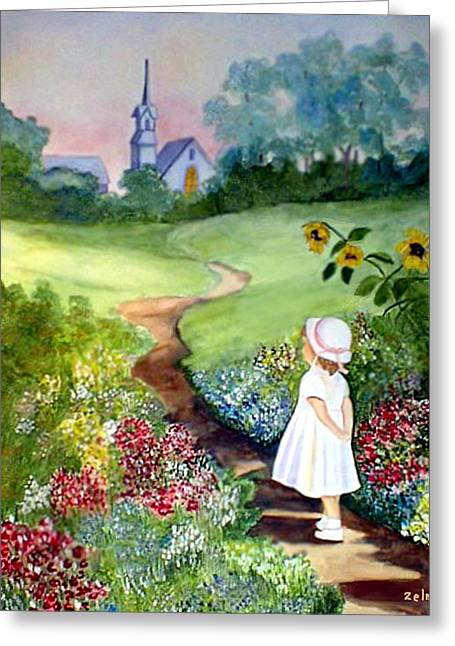 Zelma Hensel Greeting Cards - On the way to Church Greeting Card by Zelma Hensel