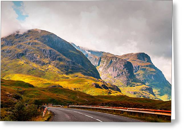 Highlands Of Scotland Greeting Cards - On the Way to Glencoe. Scotland Greeting Card by Jenny Rainbow