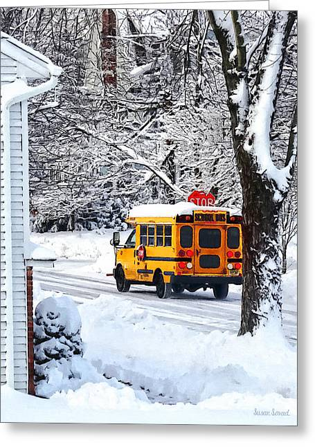 Bus Greeting Cards - On the Way to School in Winter Greeting Card by Susan Savad