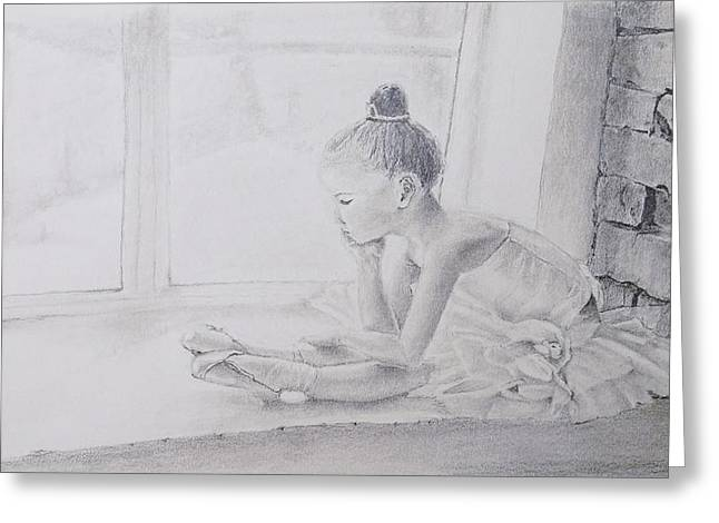 Ballet Dancers Drawings Greeting Cards - On the way to success Greeting Card by Olga Reb