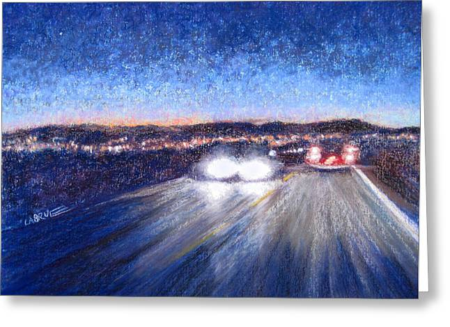 Driving Pastels Greeting Cards - On the way to the Casino Greeting Card by Lillian Brue