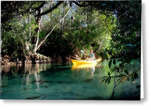 Kayak Mixed Media Greeting Cards - On the Weeki Wachee Greeting Card by Linda Seifried