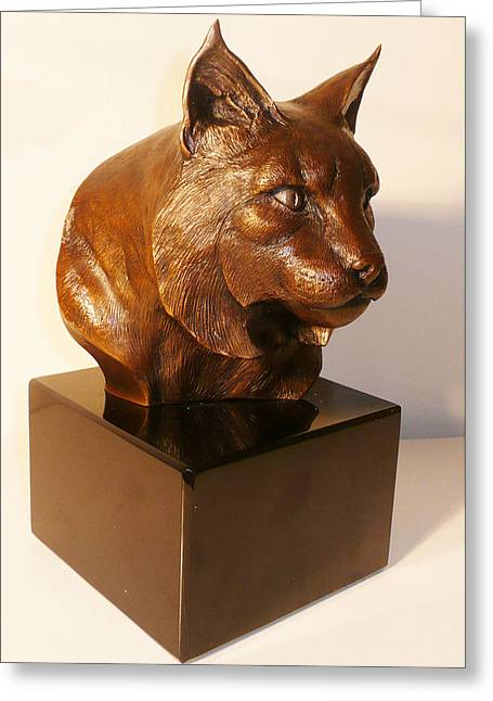 Bobcats Sculptures Greeting Cards - On the Wild Side Greeting Card by Shawn McAvoy
