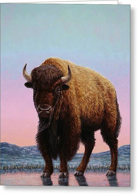Bison Paintings Greeting Cards - On Thin Ice Greeting Card by James W Johnson