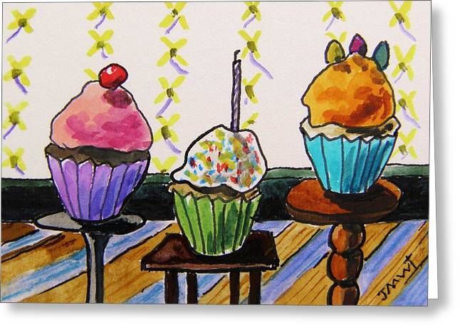 Aceo Original Drawings Greeting Cards - On Three Stands Greeting Card by John  Williams