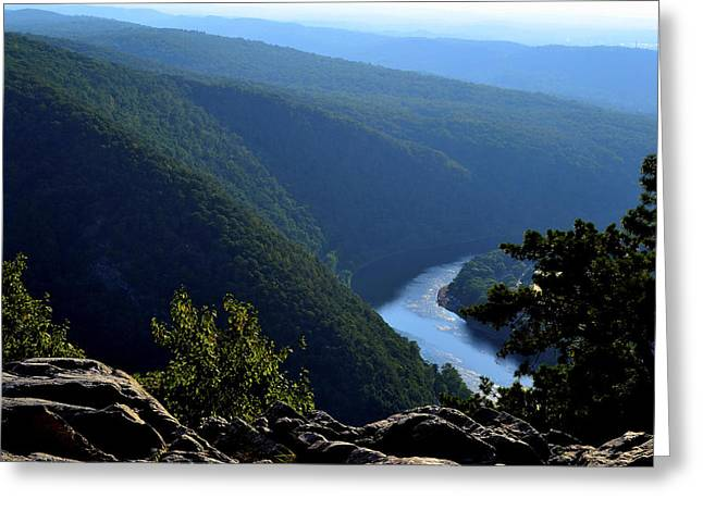 Delaware River Greeting Cards - View From Top of Mt Tammany Greeting Card by James Chesnick