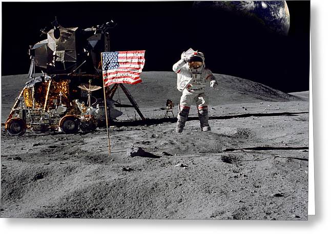 Neil Armstrong Greeting Cards - On Top of the World Greeting Card by Jon Neidert