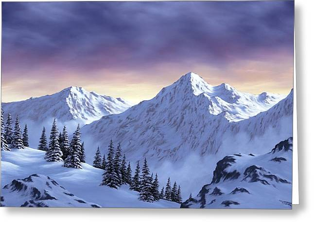 Snowscape Paintings Greeting Cards - On Top of the World Greeting Card by Rick Bainbridge
