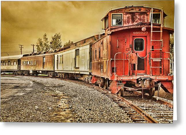Old Caboose Greeting Cards - On Track - Take Two Greeting Card by Peggy J Hughes