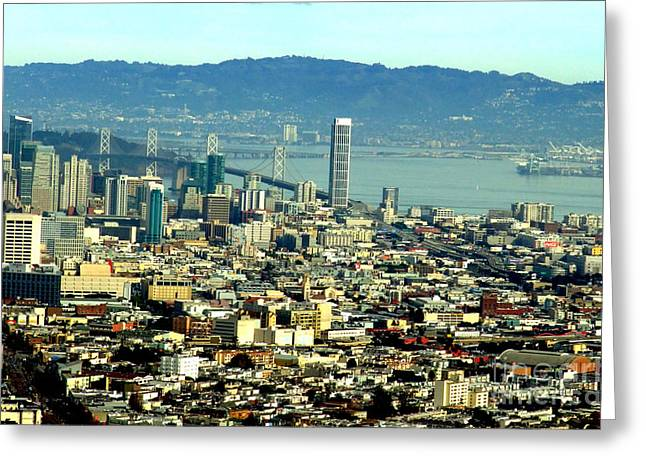 Downtown San Francisco Greeting Cards - On Twin Peaks over looking the City by the Bay Greeting Card by Jim Fitzpatrick