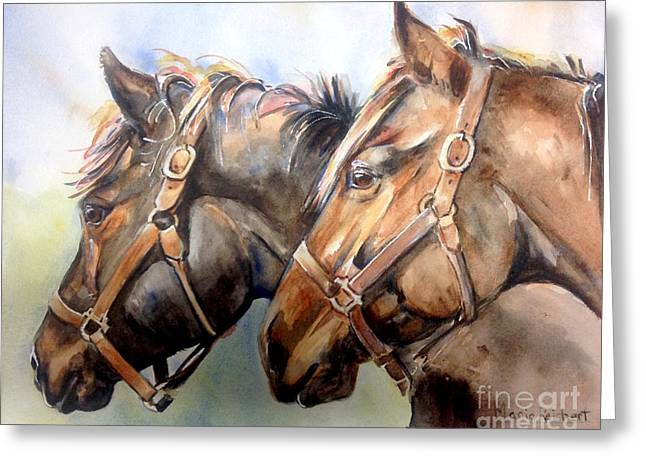 Two Horses Greeting Cards - Horse in watercolor On Watch Greeting Card by Maria