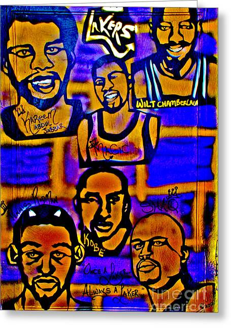 Lakers Paintings Greeting Cards - Once A Laker... Greeting Card by Tony B Conscious