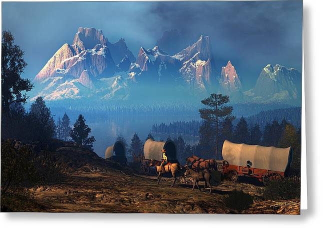 Wagon Digital Art Greeting Cards - Once But Long Ago Greeting Card by Dieter Carlton