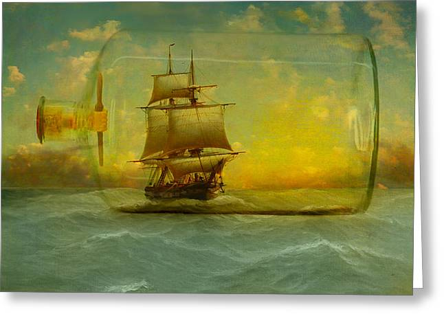 Seafarer Greeting Cards - Once In a Bottle Greeting Card by Jeff Burgess