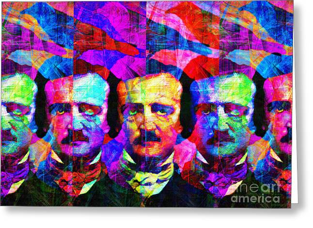Mustache Digital Art Greeting Cards - Once Upon A Midnight Dreary 20140118 Greeting Card by Wingsdomain Art and Photography