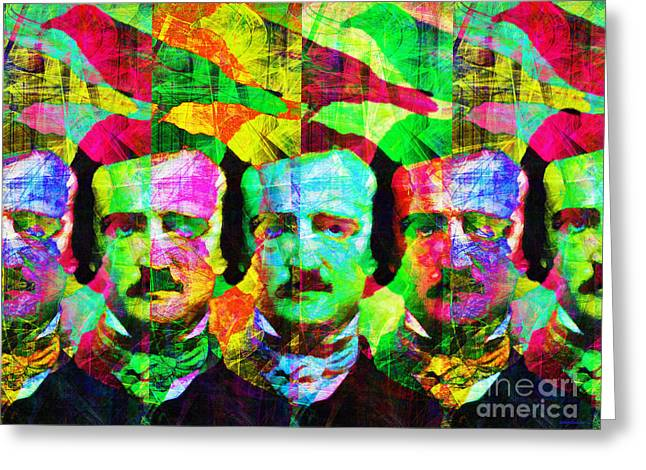 Mustache Digital Art Greeting Cards - Once Upon A Midnight Dreary 20140118p128 Greeting Card by Wingsdomain Art and Photography