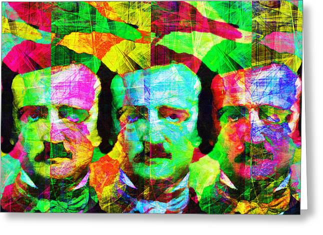 Mustaches Digital Greeting Cards - Once Upon A Midnight Dreary 20140118v2 square Greeting Card by Wingsdomain Art and Photography