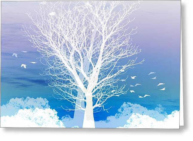 Birds Moon Greeting Cards - Once upon a moon lit night... Greeting Card by Holly Kempe