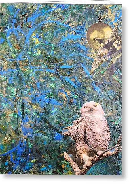 Owl Of Minerva Greeting Cards - Once Upon a Night Greeting Card by Megan Henrich