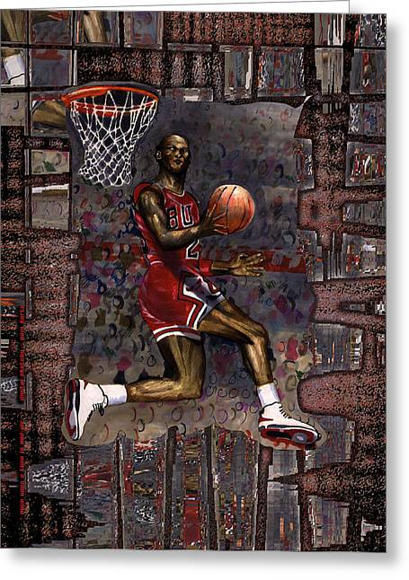 Air Jordan Mixed Media Greeting Cards - Once upon a time in mid air Greeting Card by Christopher Korte