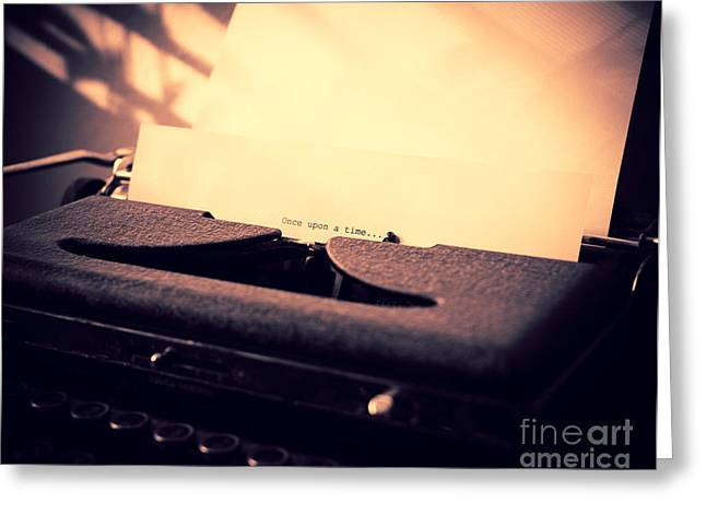Antique Typewriter Greeting Cards - Once Upon a time Greeting Card by Sonja Quintero