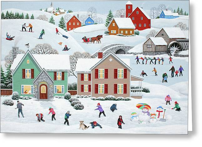 Snowball Fight Greeting Cards - Once Upon A Winter Greeting Card by Wilfrido Limvalencia