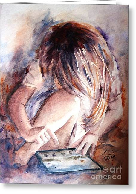 Technical Paintings Greeting Cards - Once Upon an Ipad Greeting Card by Leslie Franklin
