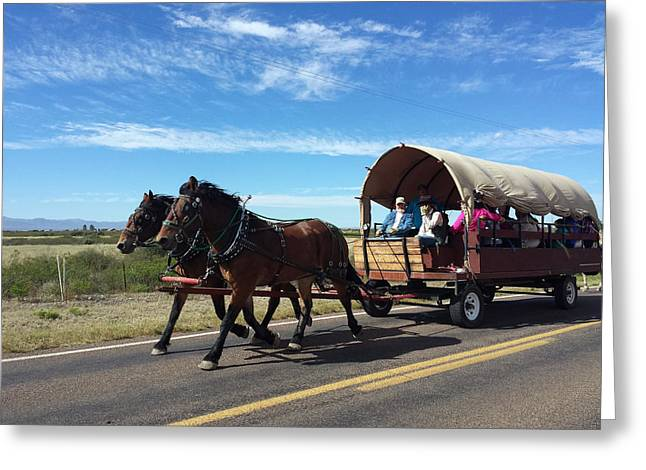 Horse And Buggy Greeting Cards - Oncoming Traffic Greeting Card by MaryAnn  Ead