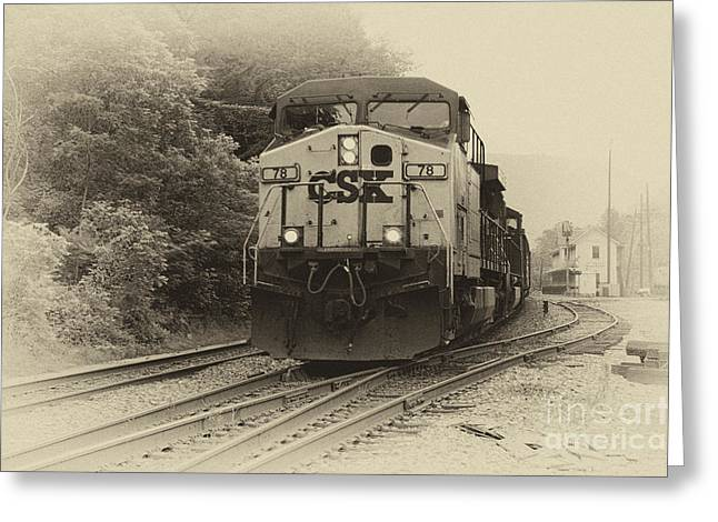 Rail Line Greeting Cards - Oncoming Train Greeting Card by Thomas R Fletcher
