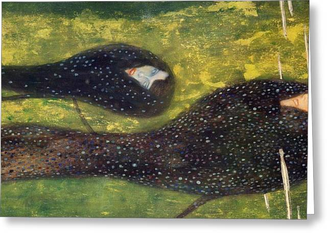 Contemporary Symbolism Greeting Cards - Ondine Greeting Card by Gustav Klimt