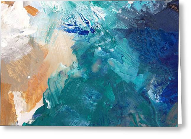 Blue Sky And Sand Greeting Cards - On A Summer Breeze- contemporary abstract art Greeting Card by Linda Woods