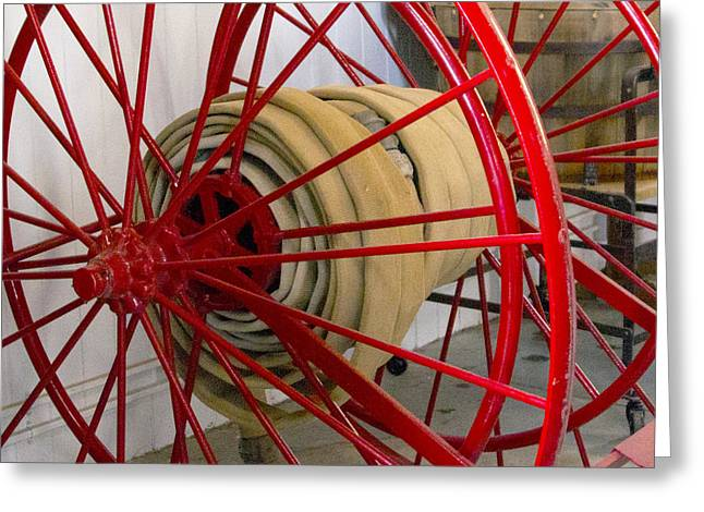 Pull Greeting Cards - One Alarm Fire Hose Greeting Card by Barbara Snyder