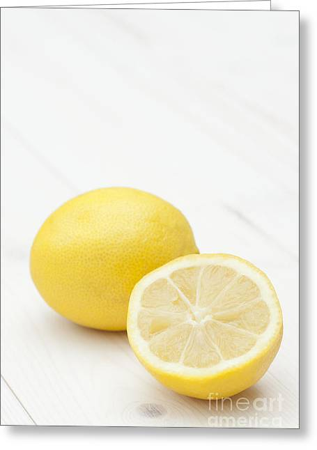 Lemon Art Greeting Cards - One and a Half Greeting Card by Anne Gilbert
