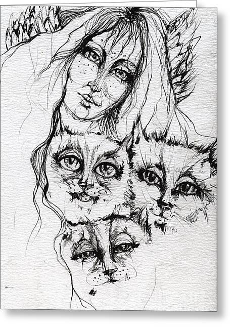 One Angel Three Cats Greeting Card by Angel  Tarantella