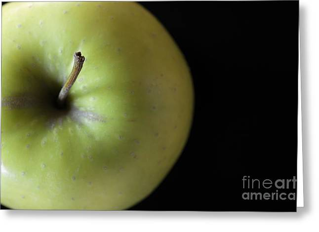 Black Top Greeting Cards - One Apple - Still Life Greeting Card by Wendy Wilton