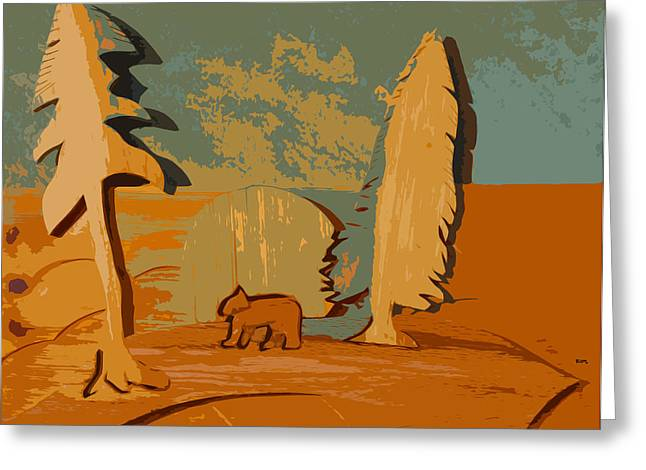 Scenic Sculptures Greeting Cards - One bear walking Greeting Card by Robert Margetts