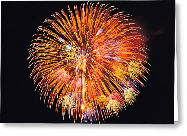 One Big Circle Of Fireworks With Black Greeting Card by Panoramic Images